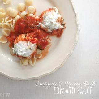Courgette Ricotta Balls with Tomato Sauce